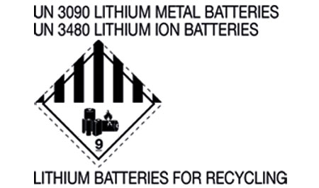 U-TAB etiketter  UN 3090 LITHIUM METAL BATTERIES UN 3480 LITHIUM ION BATTERIES FOR RECYCLING