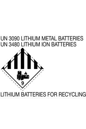 Etikett UN 3090 LITHIUM METAL BATTERIES - UN 3480 LITHIUM ION BATTERIES - FOR RECYCLING